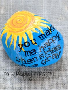 Rock Painting Ideas | You Are My Sunshine Painted Rock Inspiration at painthappyrocks.com #PaintHappy