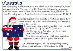 Christmas Around the World Posters Aussie Christmas, Australian Christmas, Merry Christmas Sign, Kids Christmas, Christmas Crafts, Christmas Nativity, Australia For Kids, Christmas In Australia, Christmas Activities