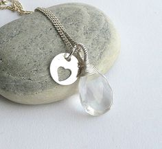 Rock Crystal Necklace,Sterling Silver Necklace, Delicate Necklace, Wire Wrapped Necklace Birthstone Necklace