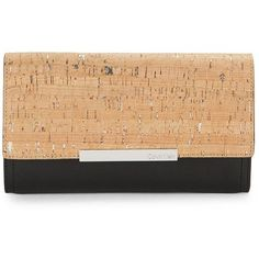 Calvin Klein Women's Cork Textured Leather Clutch ($138) ❤ liked on Polyvore featuring bags, handbags, clutches, black cork, chain handbags, calvin klein handbags, chain purse, cork purse and calvin klein purse