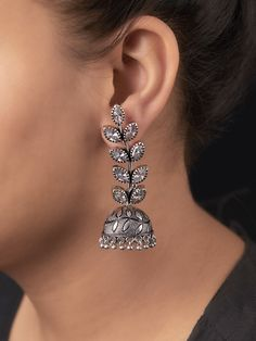 Intricately handcrafted Earrings ensured to give a contemporary traditional look. Indian Jewelry Earrings, Fancy Jewellery, Silver Jewellery Indian, Trendy Jewelry, Tribal Jewelry, Cute Jewelry, Silver Earrings, Unique Jewelry, Silver Jewelry