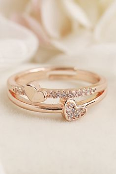 Lindsay Simple & Cute Crystal Double Heart Ring Cute Simple Double Crystal Heart Ring Fashion Jewelry for Women for Teen Girls – lindos anillos Fancy Jewellery, Gold Rings Jewelry, Hand Jewelry, Womens Jewelry Rings, Viking Jewelry, Ancient Jewelry, Delicate Rings, Unique Rings, Beautiful Rings