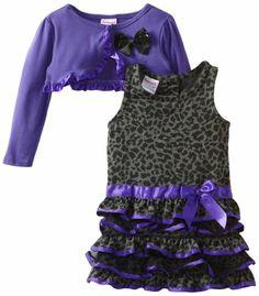 Nannette Girls 2-6X 2 Piece Print Bow Shrug And Dress