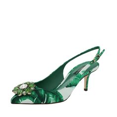 Jeweled Leaf Print Slingback | Marissa Collections