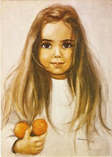 Girl with the tangerines S Girls, Vintage Children, Childhood Memories, Amazing Art, Coloring Pages, Mona Lisa, Watercolor, Orange, Antiques