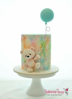 teddy bear holding a balloon watercolor cake Fondant Cakes, Cupcake Cakes, Teddy Bear Cakes, Teddy Bear Birthday Cake, Fondant Teddy Bear, Rhubarb Cake, Watercolor Cake, Balloon Cake, Shower Bebe