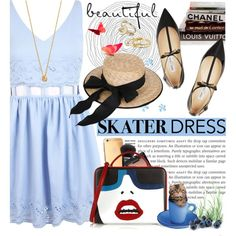 Skater Dress by oshint on Polyvore featuring moda, Miss Selfridge, Jimmy Choo, Mark Cross, Kate Spade, Gorjana, NARS Cosmetics, Gucci, Goldgenie and Chanel