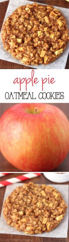 """Clean-Eating Apple Pie Oatmeal Cookies -- these skinny cookies don't taste healthy at all! You'll never need another oatmeal cookie recipe again!I like the sound of """"skinny cookies """".PIN FOR LATER Apple Recipes, Fall Recipes, Sweet Recipes, Baking Recipes, Dessert Recipes, Budget Recipes, Paleo Dessert, Baking Ideas, Potato Recipes"""