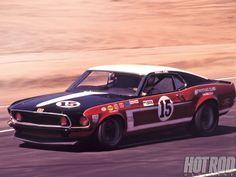 Boss Mustang 1969 with Parnelli on board at Riverside