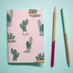 Small cactus notebook by notonlypolkadots on etsy милые идеи diy schule, no Notebook Art, Small Notebook, Notebook Covers, Notebook Design, Diy Notebook Cover For School, Balle Anti Stress, School Suplies, Small Cactus, Cactus Cactus