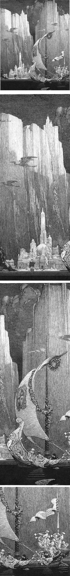 Echoes, ink drawing by Franklin Booth
