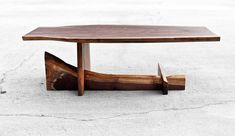 Walnut Cantilever Table - Live Edge Coffee Table - Functional Art - Custom Furniture - Reclaimed Solid Hardwood - Handmade in USA