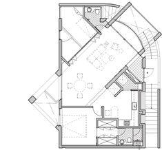 First floor plan of K-POP Curve by Moon Hoon Modern House Facades, Modern House Design, Architecture Plan, Interior Architecture, Curve Building, Villa Plan, Home Design Floor Plans, Community Space, Facade House