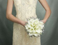Wedding Flowers - Calla Lily Bridal Bouquet of White Lilies and Mirrored Beads - Fabulous Brooch Bouquet Alternative.