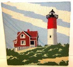 Nauset Lighthouse Finished Crewel Needlework Mounted Massachusetts Wall Hanging #Crewel #Lighthouse #Nauset
