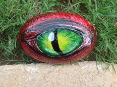 Dragon's Eye Hand Painted Garden River Rock 6 by PaintingsbyDe