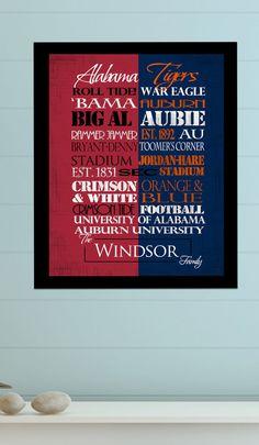 University of Alabama Crimson Tide / Auburn University Tigers House Divided Print