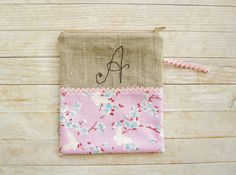 Cosmetic bag pencils case carry-all zipper pouch monogram A purse wallet butterfly cherry blossom pink blue cotton natural linen black gift by poppyshome on Etsy