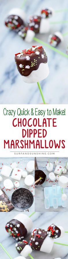 "Easiest ""Pinterest"" treat ever! Christmas Winter Wonderland Chocolate Dipped Marshmallows Recipe via @jeanabeena"