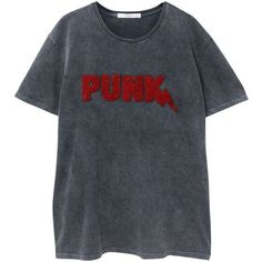Punk T-Shirt (87 PLN) ❤ liked on Polyvore featuring tops, t-shirts, punk tops, short sleeve tee, mango tee, short sleeve tops and punk rock tees