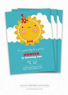 Kid's Birthday Invite - Happy Sun - Custom Birthday Invitation, Personalised Children's Birthday Invitation, Digital Printable Invitation