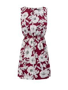 Burgunderrotes Skater-Kleid mit Blumenmuster, ärmellos | New Look
