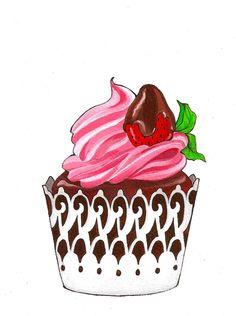 Strawberry Cupcake Painting  Visit & Like our Facebook page! https://www.facebook.com/pages/Rustic-Farmhouse-Decor/636679889706127