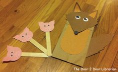 Wolf puppet for storytime craft