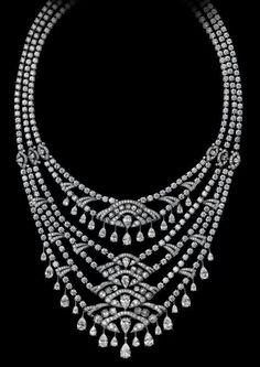 Cartier, Indian Influences. High Jewelry Collection. Pear- shaped and rose-cut diamonds set in platinum.