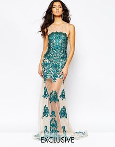 Image 1 of A Star Is Born Luxe Mesh Embellished Maxi Dress With Embroidered Sequin Mesh Skirt