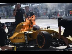 GP Malaysia 2016. The Renault of Magnussen caught fire back in the pit lane during the first practice session on Friday.