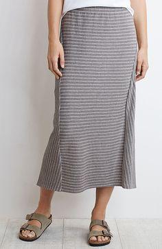 Pure Jill striped elliptical skirt
