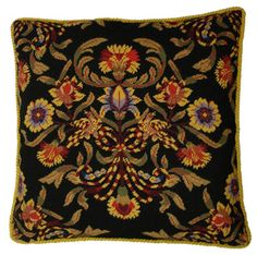 Old Roses Black Needlepoint Pillow with Cording