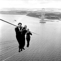 Construction workers on the Forth Road Bridge, 1961 -- is that the foreman or a passer-by in the suit?