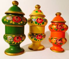 Italian Covered Jars/Urn Deco Handpainted Pottery Colorful Kitchen Decour by VintageLoveAntiques on Etsy https://www.etsy.com/listing/179556097/italian-covered-jarsurn-deco-handpainted