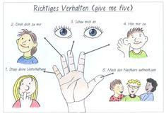 Give me five – Grundschule Bayreuth-Lerchenbühl - School Ideas I School, Primary School, Elementary Schools, Middle School, Classroom Rules, School Classroom, Teacher Tools, Teacher Resources, Classroom Management Plan