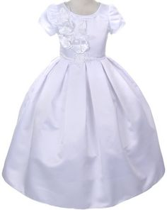 96d42f45603 Satin Short Sleeve Communion DressCC2004 Satin First Holy Communion Gown  This ankle length white satin gown. Childrens Dress Shop