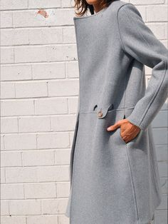 ALMOND COLLARLESS COAT, GREY