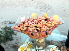 beach wedding, food, shrimp pasta