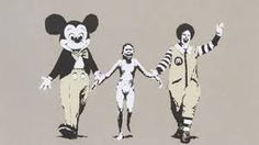A great Banksy poster! A Vietnamese napalm victim is led by kid-friendly corporate icons - Mickey Mouse and Ronald McDonald. Check out the rest of our awesome selection of Banksy posters! Need Poster Mounts. Graffiti Art, Street Art Banksy, Protest Kunst, Protest Art, Napalm Girl, Banksy Images, Banksy Stencil, Stencil Art, Stencils