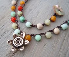 Crochet necklace ' Sol Fiesta ' multi colored glass by slashKnots, $55.00