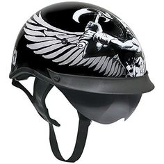 Outlaw T-72 Dual-Visor Glossy Motorcycle Half Helmet with Graphics of Viking Go - 2X-Large. Glossy-finish polycarbonate shell. Black as main background color. Glossy graphics of Viking symbols (Valknut) and Viking god with wings and ax. Removable bolted visor. Non-removable DOT and Outlaw graphics on the back.