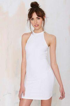 Ribbed Bodycon Dress - White
