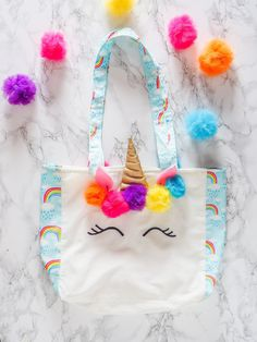 Make Your Own Unicorn Tote Bag - Pattern & Ebook + Video - Unicorn birthday party - Unicorn Birthday Parties, Unicorn Party, Unicorn Halloween, Make Your Own, Make It Yourself, Diy Tote Bag, Tote Bags, Kids Bags, Crafts For Teens