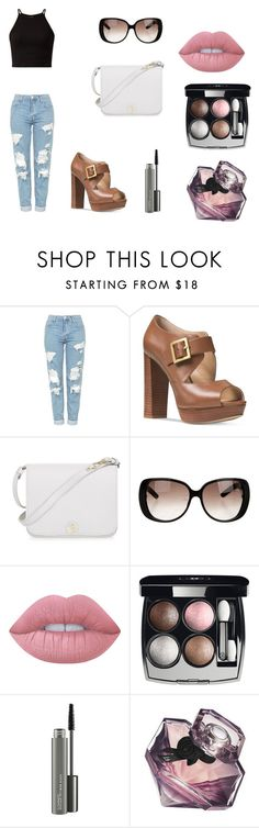 """Sunglasses"" by bestylished ❤ liked on Polyvore featuring Topshop, Michael Kors, Furla, Gucci, Lime Crime, Chanel, MAC Cosmetics and Lancôme"