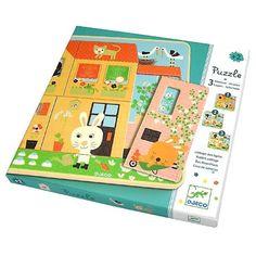 3 Schichten Kleinkind Puzzle Hasenhaus aus Holz von Djeco