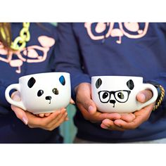 Image of Panda Face / Nerdy Panda Ceramic Soup Mug (White)