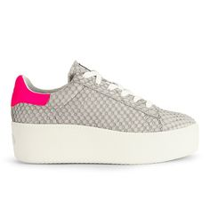Buy Ash Women's Cult Puff Flatform Trainers - Neon Marble from Allsole. Neon Sneakers, Neon Shoes, Ash Shoes, Grey Shoes, Lace Up Shoes, Leather Sneakers, Grey Leather, Leather And Lace, Flatform Trainers