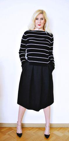 Black and white stripes with black skirt
