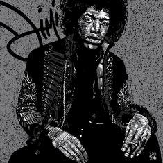 Jimi Hendrix Daddy Go, Jimi Hendrix, Joker, Rock, Illustration, Fictional Characters, Art, Stone, Illustrations